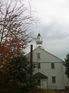 The 1717 meeting house of West Parish in Barnstable (can you see the green tarp on the roof?)