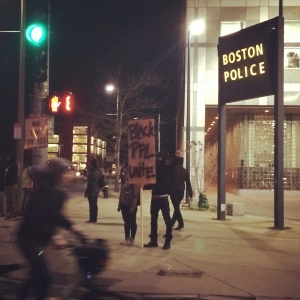 At the Ferguson protest in Boston on Tuesday 11/25