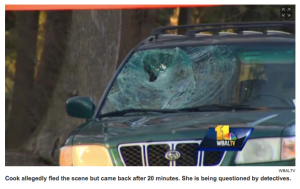 Bishop Cook's windshield, photo from WBALTV