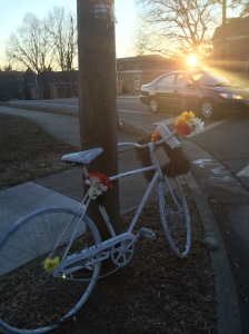 "Just the other day, I drove past the ""Ghost Bike"" for Kent Winberry, a cyclist and human being killed in Durhman NC. Click photo for his story."